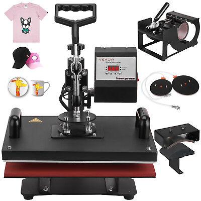 "5 In 1 Digital Heat Press Machine Transfer Sublimation T-Shirt Mug Hat 15""X12"""