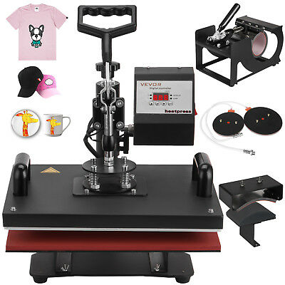 "5 In 1 Digital Heat Press Machine Transfer Sublimation T-Shirt Mug Hat 15""X12"""