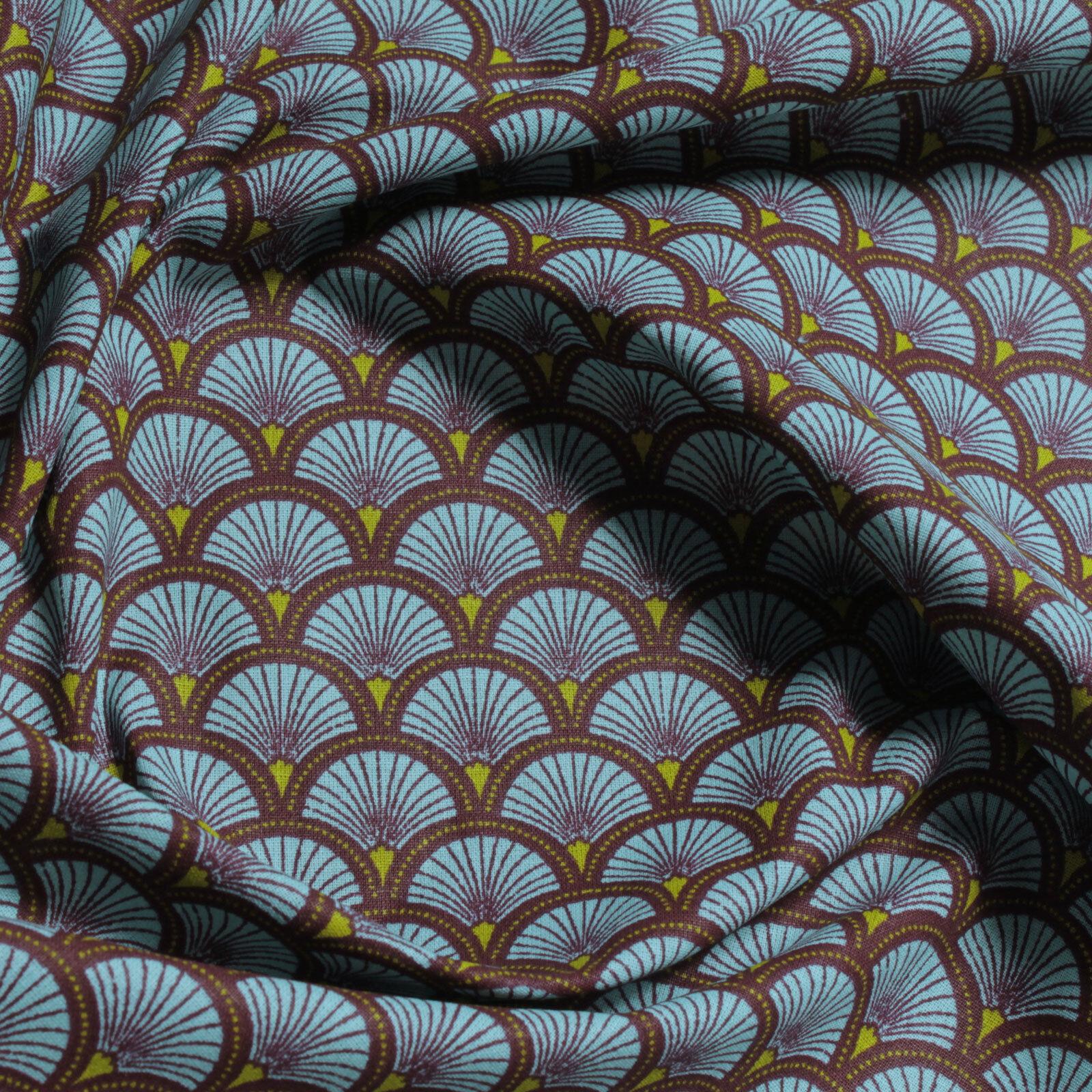 Stoff Baumwolle Popeline Welle türkis japanisches Muster Seigaiha Fächer