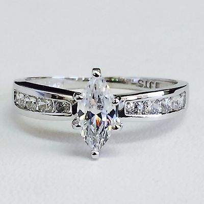 Solid 14K White Gold Channel Set Cubic Zirconia Marquise Engagement Ring, Size 7