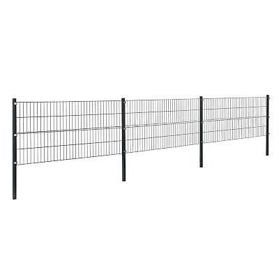 [pro.tec]® Gartenzaun 6x0,8m Grau Doppelstab Zaun Set Gittermatten Metallzaun