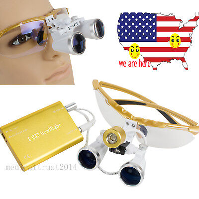 Yellow Surgical Dental Magnifying Binocular Loupes 3.5x 420 Led Head Lamp - 2018