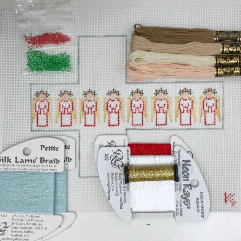 Hand Painted Needlepoint Canvas Kathy Schenkel Angel Cube Kit xmas ornament