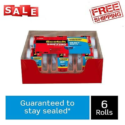 Scotch Heavy Duty Shipping Packaging Tape Dispensers 6 Pack Clear 1.5 Core