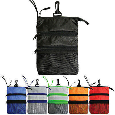 - Zippered Valuables Golf Caddy Pouch with Hook & Wrist Strap - 6 Colors Available