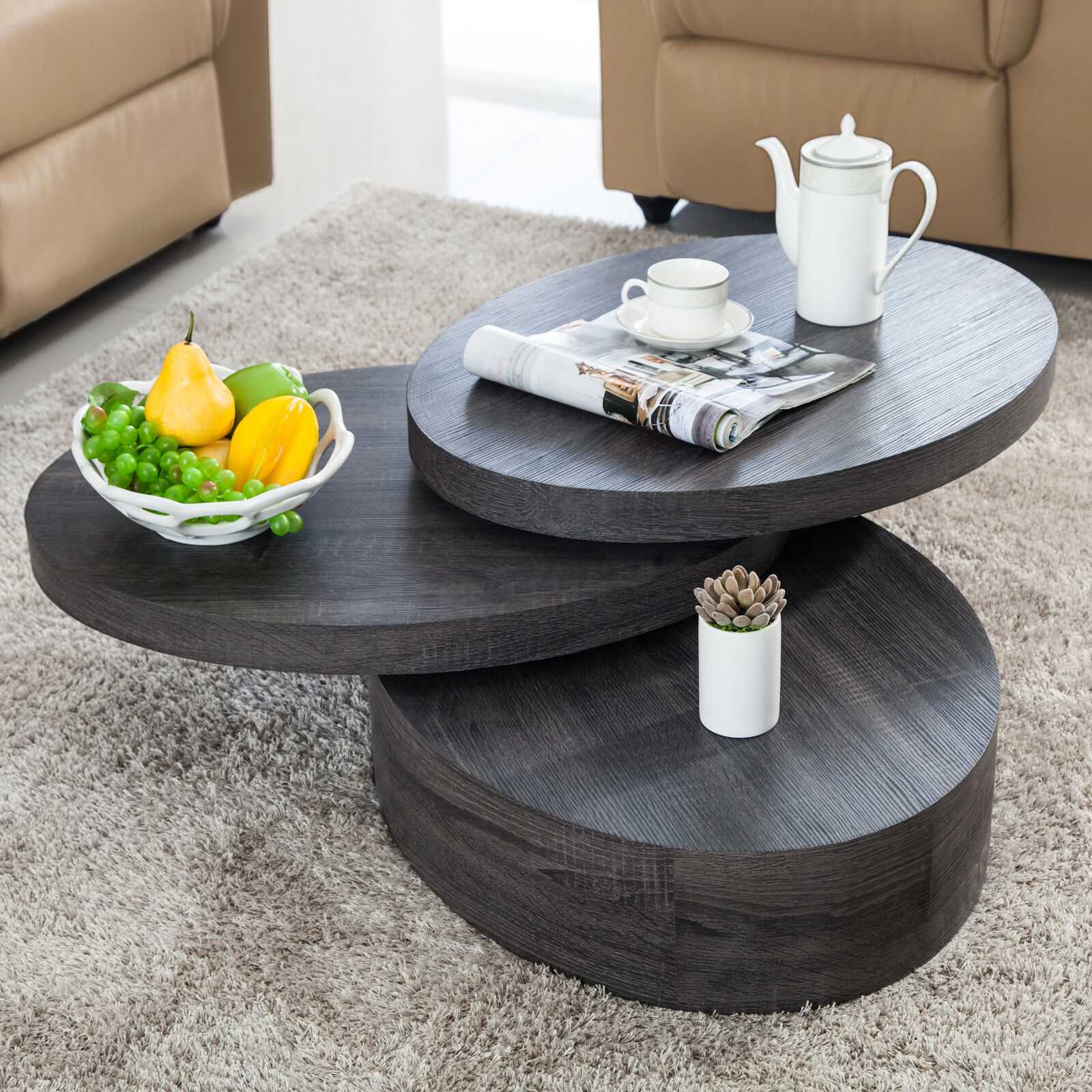 3 Layers Oval Black Oak Wood Coffee Table Round Rotating Living Room Furniture