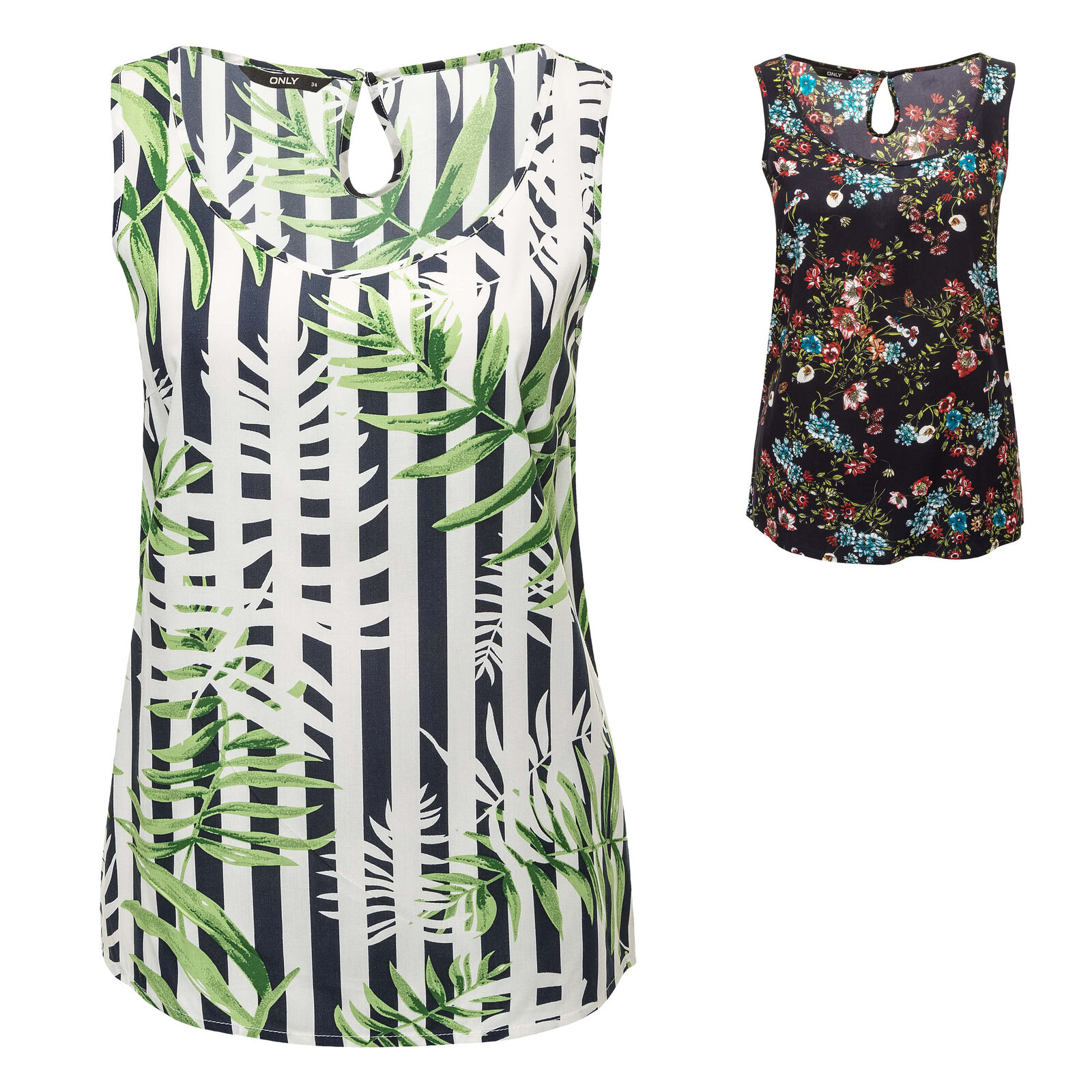 Only Damen Top Blusentop Bluse Tunika Print Tank Top Sommerbluse Color Mix SALE