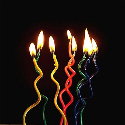 8pcs Spiral Birthday Candles Curly Swirl twisted party cake candle Novelty