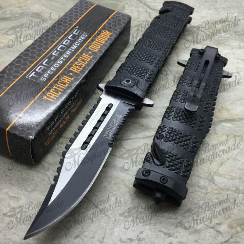 Tac Force Sawback Bowie Tactical Half Serrated Spring Assisted Pocketknife