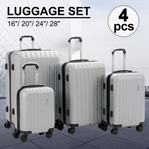 """16/20/24/28"""" Luggage Travel Set with 4 Wheels Bag Trolley Case Carry On Suitcase"""