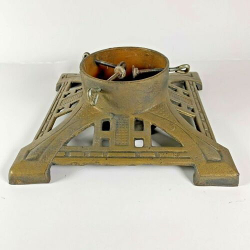 Vintage Gold Cast Iron Christmas Tree Stand 12x12x6 with 6in opening         B-N