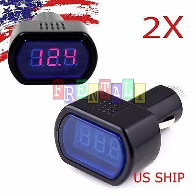 2x Lcd Cigarette Lighter Voltage Digital Panel Meter Voltmeter Monitor Auto Car