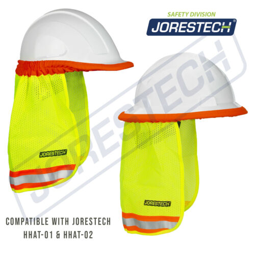 SAFETY HARD HAT NECK SHIELD HELMET SUN SHADE HI VIS REFLECTIVE STRIPE JORESTECH