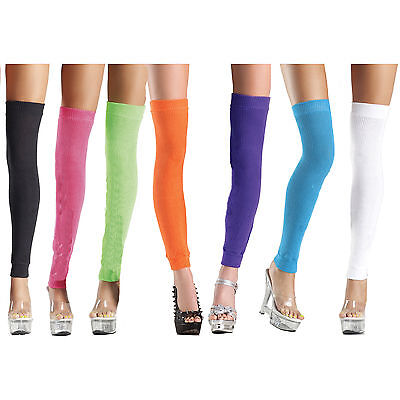Knit Thigh High Leg Warmers Retro Costume 80s Neon Stretch Acrylic