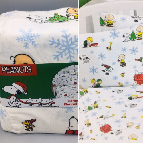 3pc Peanuts Christmas TWIN Flannel Sheet Set Snoopy Charlie
