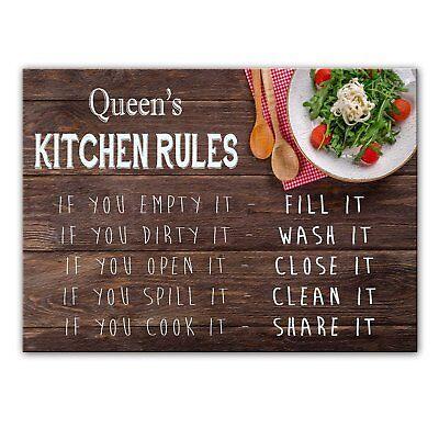 Küche Queen (Queen Küche Regeln - Glas Schneidebrett / Arbeitsplatte Sparer - Geschenk für -)
