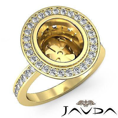 Diamond Engagement Ring Oval Shape Semi Mount Halo Pave 14k Yellow Gold 1.25Ct