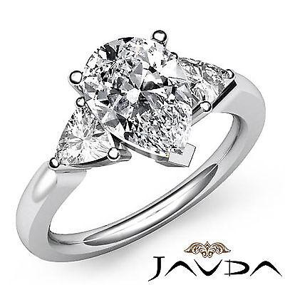 Trillion Cut 3 Stone Pear Diamond Engagement Prong Setting Ring GIA I SI1 1.55Ct