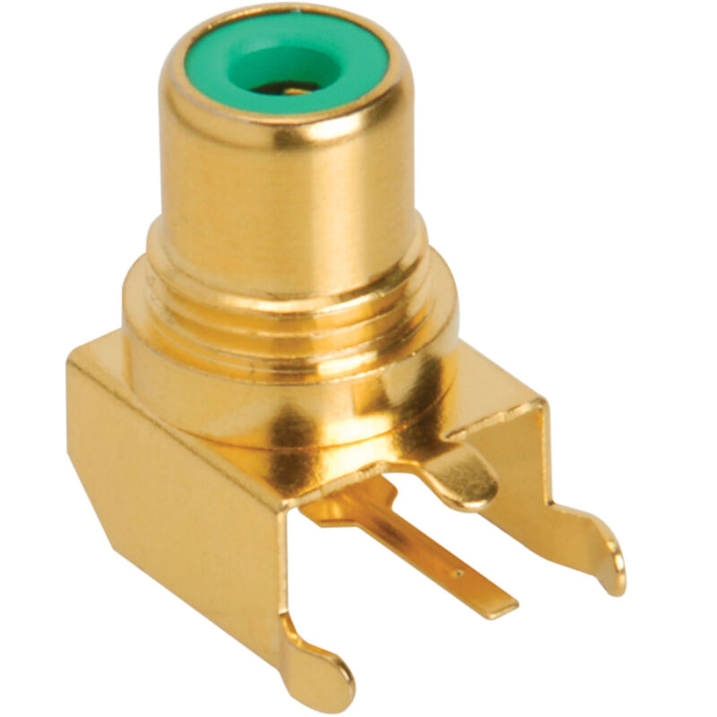 RCA Jack PCB Mount Gold Plated Right Angle Green