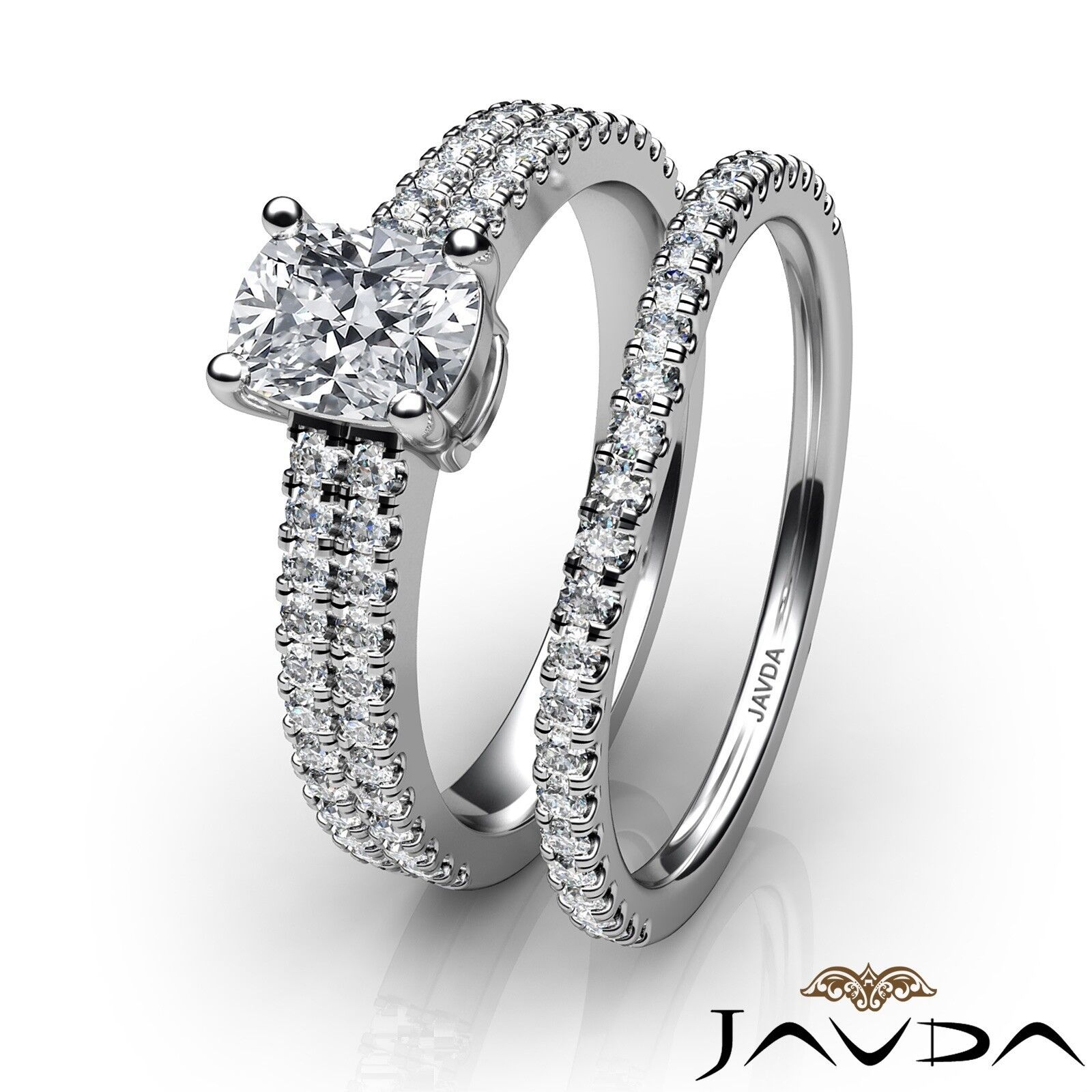 1.54ctw Bridal Scalloped Pave Cushion Diamond Engagement Ring GIA G-SI1 W Gold 3