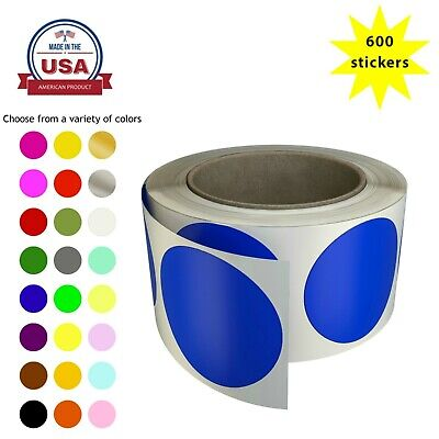 Color Coding Dots 2 Inch In Roll - 50mm Round Circles Labels 5cm 600 Pack