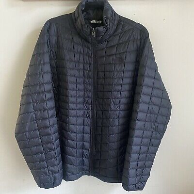 Women The North Face 2XL Thermoball Puffer Quilted Jacket Coat Full Zip Black