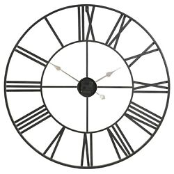 Round Wall Clock Made from the Iron Metal Frame with the Roman Numeral Design