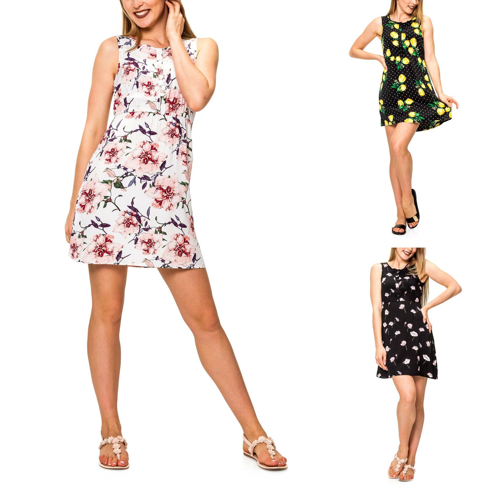 Hailys Damen Blusenkleid mit Knopfleiste Sommerkleid Minikleid Print Kleid