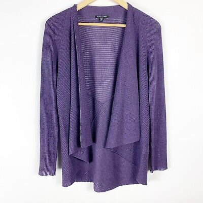 Sz PL Eileen Fisher Deep Violet Wool Open Front Draped Cardigan Sweater EUC