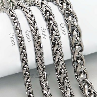 "3/4/5/6MM 18-36""  MENS Silver Stainless Steel Wheat Braided Chain Necklace"