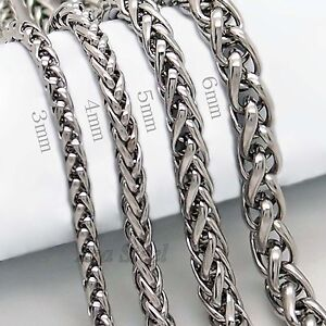 3-4-5-6MM-18-36-MENS-Silver-Stainless-Steel-Wheat-Braided-Chain-Necklace