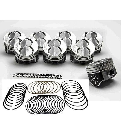 SPEED PRO Chevy 350 Hypereutectic Coated Flat Top Pistons Cast Rings 9.3:1 .030