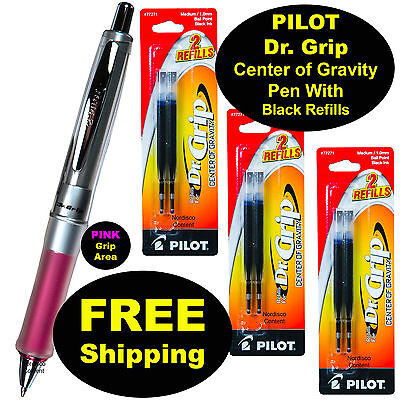 Pilot Dr. Grip Center Of Gravity Pen With 3 Pk Of Refills Pink Grip Black Ink