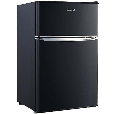 VonShef 85L Fridge Freezer Under Counter Refrigerator 48cm Black A+ Efficiency