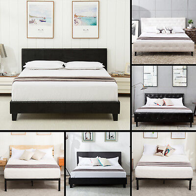 Queen Size Metal Bed Frame Platform Upholstered Headboard Bedroom Furniture