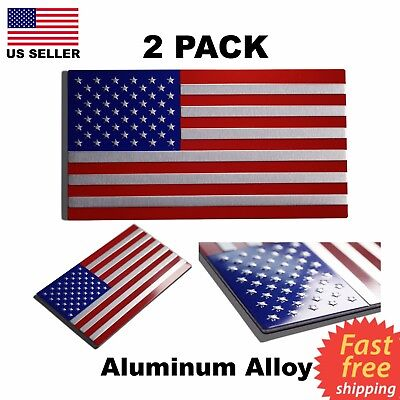 (2 Pack) TWO Aluminum USA American Flag Metal Emblem Sticker Decal Auto Car Bike