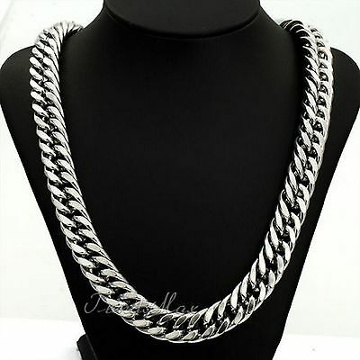 34 18K MENS WHITE GOLD CHAIN NO STONE SILVER NECKLACE BIRTHDAY GIFT HUSBAND BF