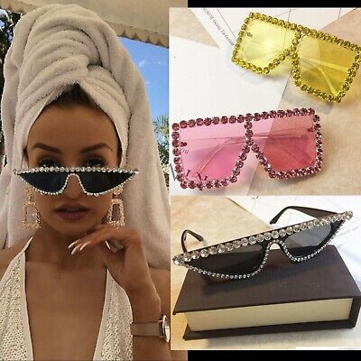 Designer Oversized Sunglasses Diamond Frame Bling Flat Top Vintage Shadow Shade