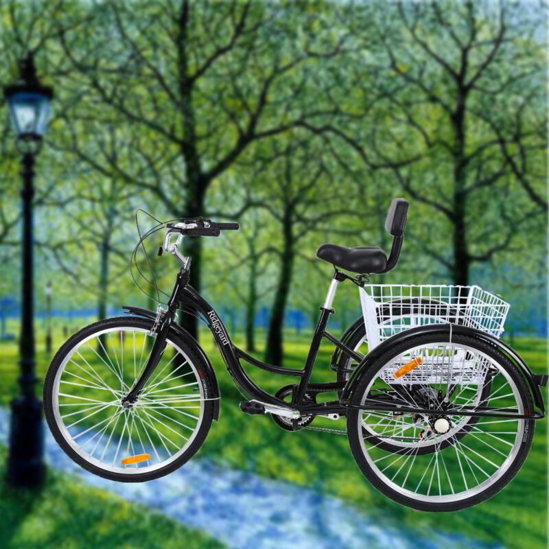 """Ridgeyard 7Speed Adult 26"""" 3-Wheel Tricycle Trike Bicycle Cr"""
