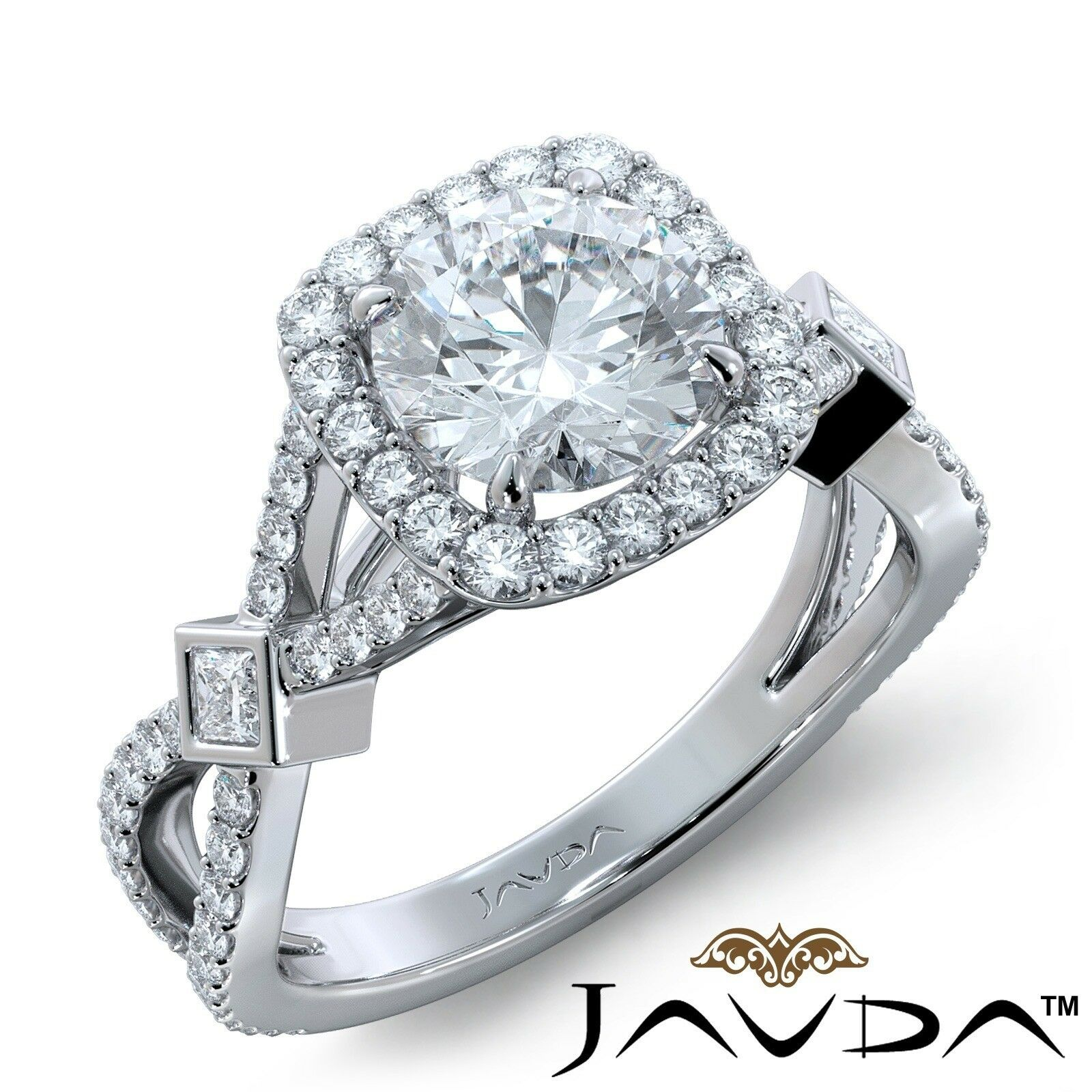 1.45ctw Cross Shank Filigree halo Round Diamond Engagement Ring GIA G-VS1 W Gold