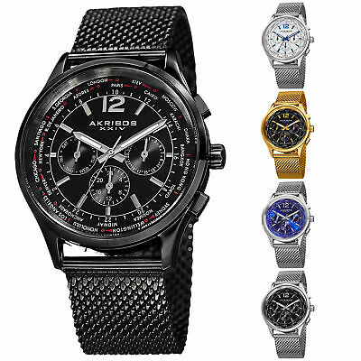 Men's Akribos XXIV AK716 Multifunction Day Date Stainless Steel Mesh Watch