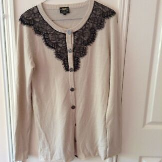 Little Joe Woman Cream Cardigan w/Black Lace