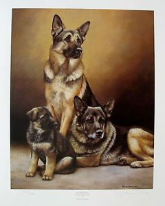 NIGEL HEMMING GERMAN SHEPHERD DOGS Hand Signed Limited Edition Lithograph Art