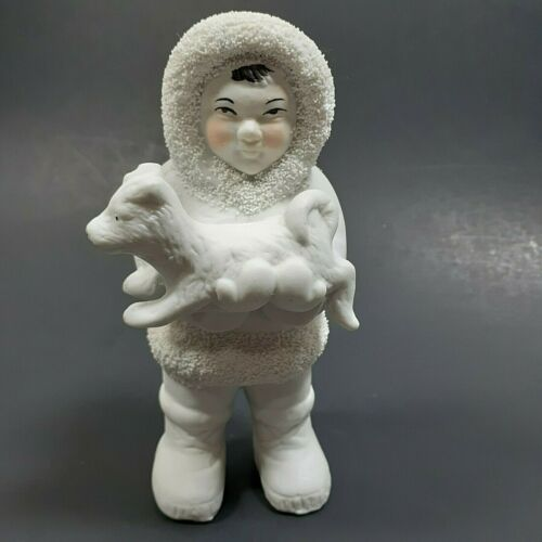 White Alaska Eskimo Boy Holding Puppy Dog Figurine Spaghetti Texture Porcelain