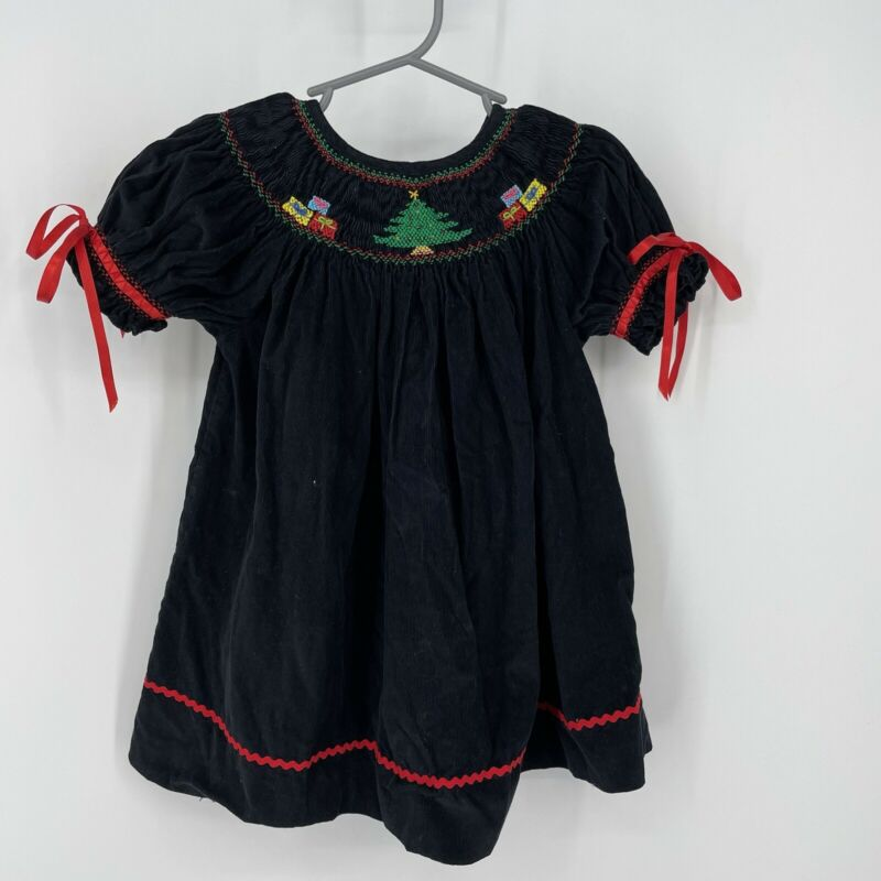Classy Couture Toddler Girls Dress 3T Black Smocked Christmas Trees Gifts Bows