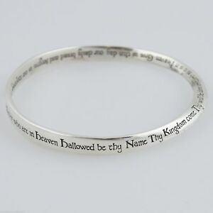 The Lord's Prayer Mobius Bangle Bracelet - 925 Sterling Silver - Bible Cross NEW
