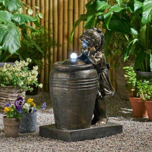 Brandin 26″ Staring Girl Outdoor Fountain With LED Lights Home & Garden