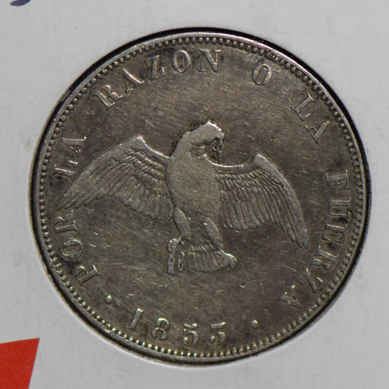 Chile 1853  silver 50 Centavos C0376 combine shipping