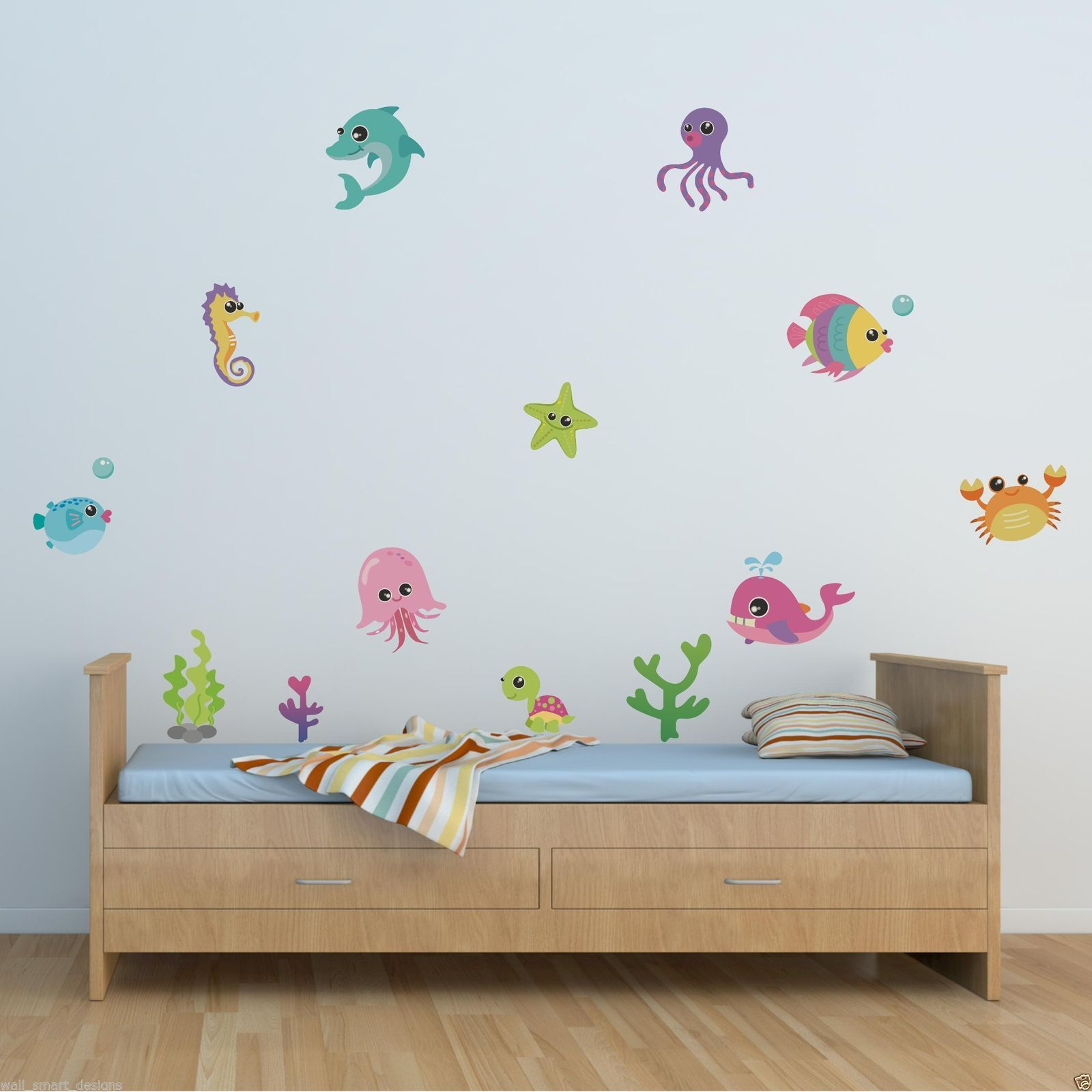 Wall decals stickers home decor home furniture diy full colour sea creatures animals wall sticker girls boys bedroom decal mural amipublicfo Gallery
