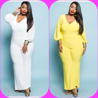 Metallic Catsuits (PLUS SIZE V NECK METALLIC SHIRT CUFF LONG SLEEVE JUMPSUIT CATSUIT 1X 2X 3X)